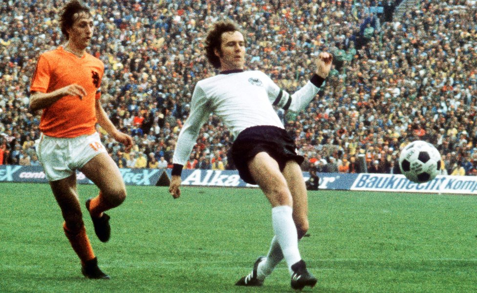 Germany's Franz Beckenbauer (right) in action with the late Johann Cruyff during the 1974 FIFA World Cup final