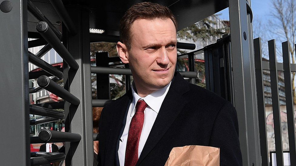Russian opposition leader Alexei Navalny leaves the European Court of Human Rights (ECHR) in Strasbourg, 24 January 2018