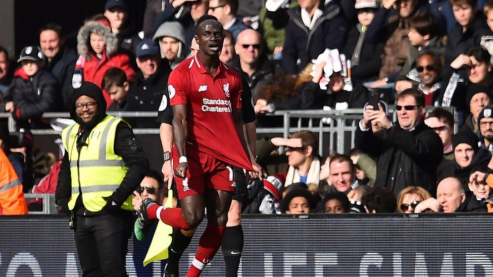 سجل ماني هدف ليفربول الأول في الدقيقة 26 من مباراة ليفربول مع فولم على أرض الأخير.