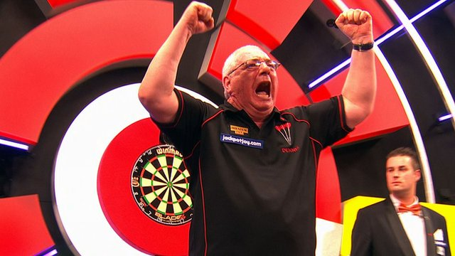 Dennis Harbour on day one of the BDO World Championships.