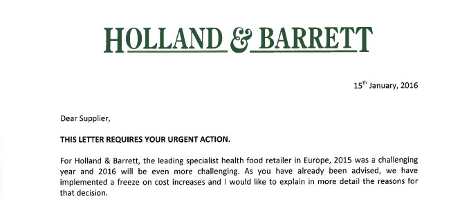 Extract from Holland & Barrett letter