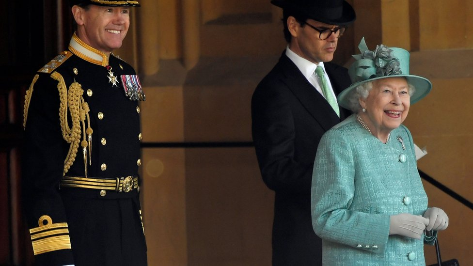 Queen Elizabeth II attends a ceremony to mark her official birthday at Windsor Castle