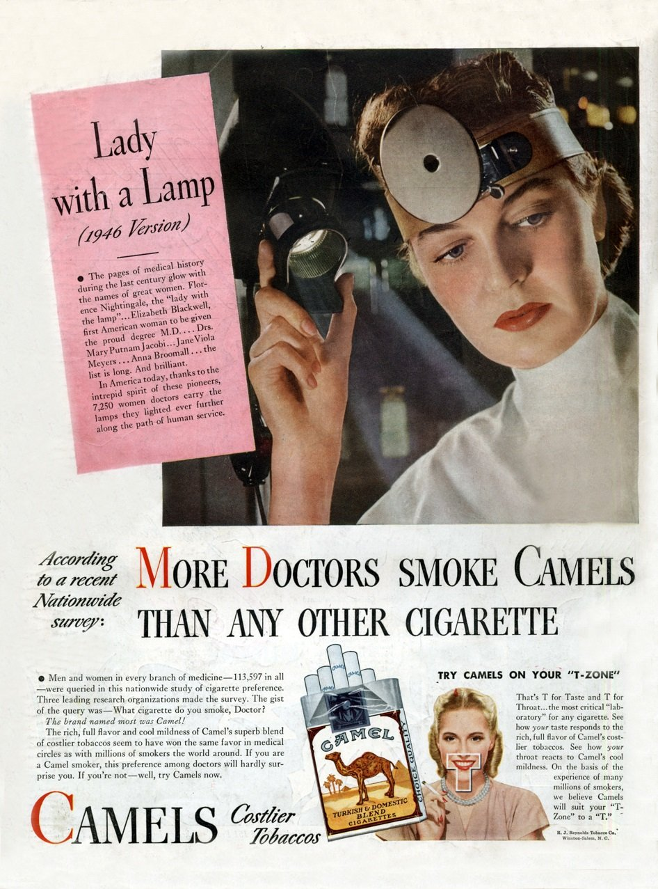 """More doctors smoke camels than any other cigarette"", advertisement for cigarettes in 1946"
