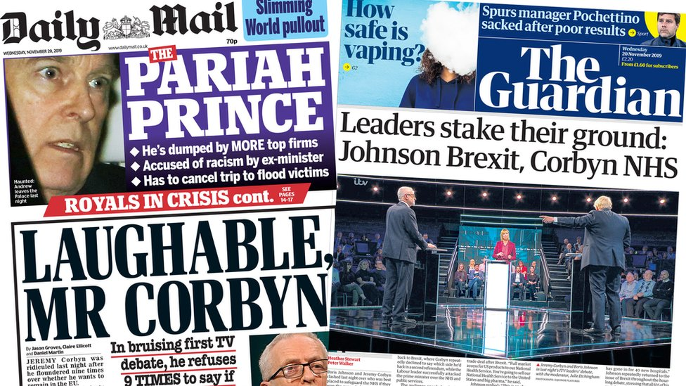 The Daily Mail and the Guardian - 20 Nov