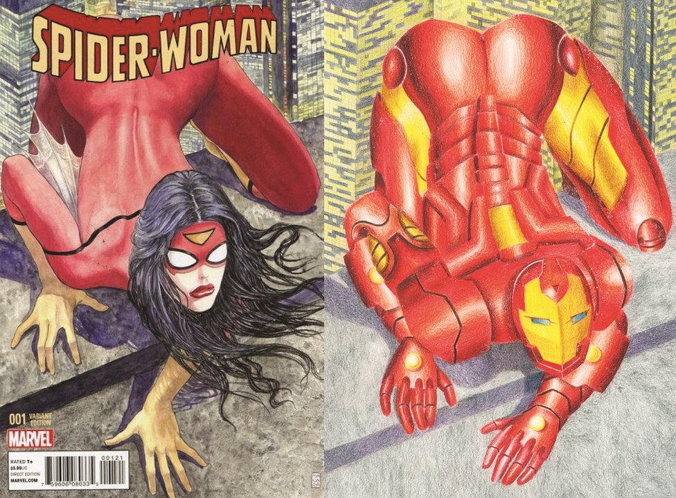 Comic cover by Shreya Arora showing Spider-Woman and Iron Man in a similar pose