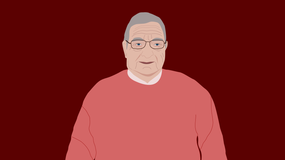 Illustration of John, a retired teacher