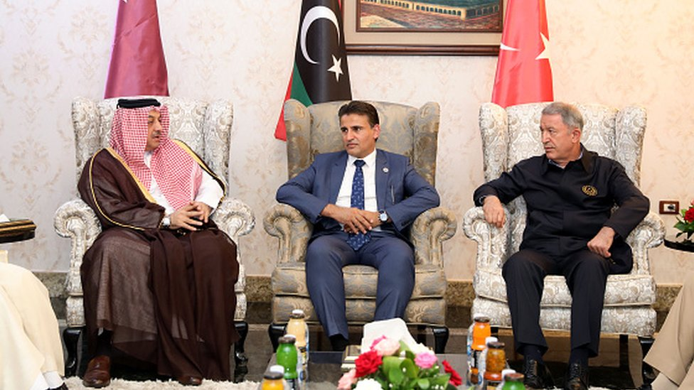 Katar'ın ve Türkiye'nin Savunma Bakanları, Libya'da destekledikleri Trablus hükümeti Savunma Bakan Yardımcısı'yla görüştü, 17 Ağustos 2020