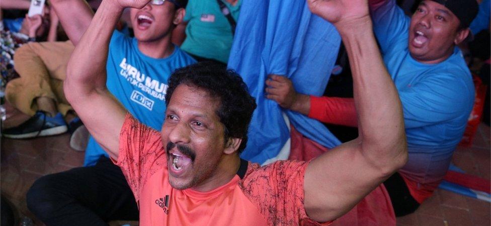 Mahathir Mohamad supporters celebrate