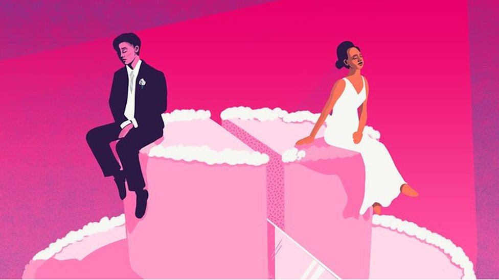 ilustración de una pareja separada