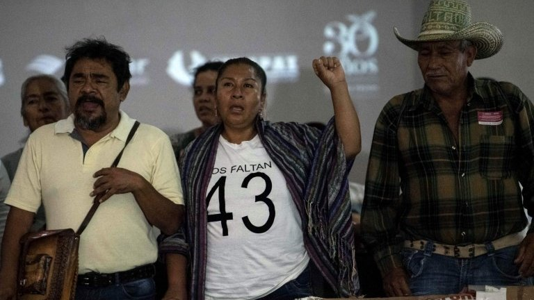 Relatives of some of the 43 missing students of Ayotzinapa attend a news conference after meeting with Mexican President Andres Manuel Lopez Obrador, in Mexico City on September 11, 2019.