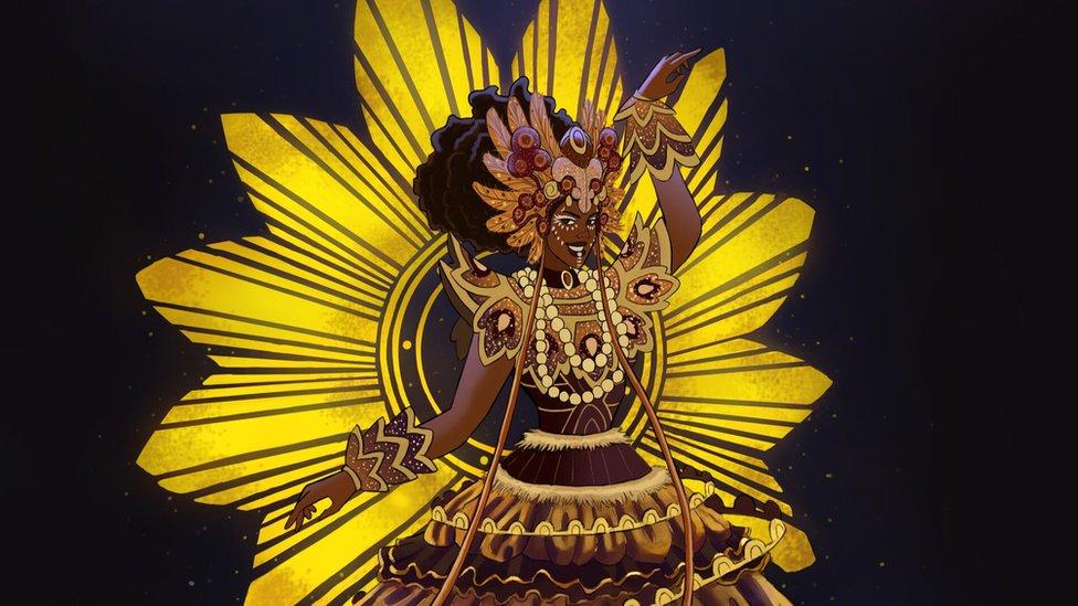 Ilustração de uma mulher no Carnaval feita por Igor Soares Silva