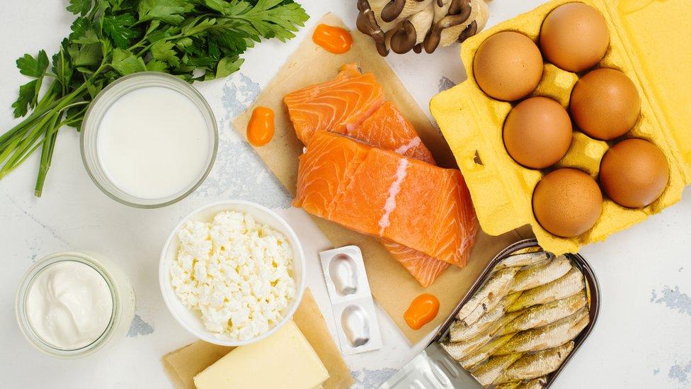 Alimentos que contienen vitamina D.