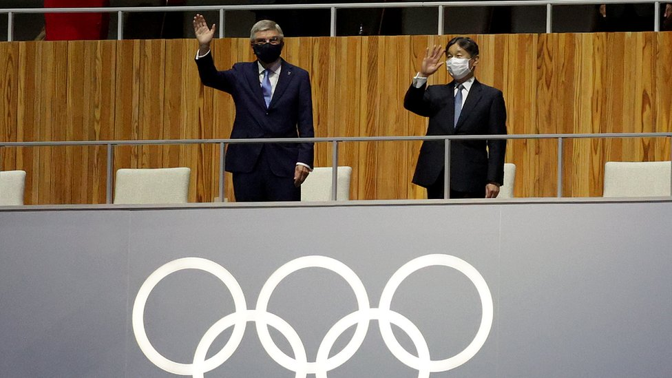 Thomas Bach, IOC President and Emperor Naruhito, President of the Tokyo Olympic and Paralympic Games look on during the Opening Ceremony of the Tokyo 2020 Olympic Games at Olympic Stadium on July 23, 2021 in Tokyo, Japan.