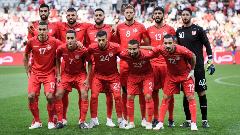Tunisia's players pose prior to the football match between Tunisia and Turkey at the Stade de Geneve stadium in Geneva on June 1, 2018.