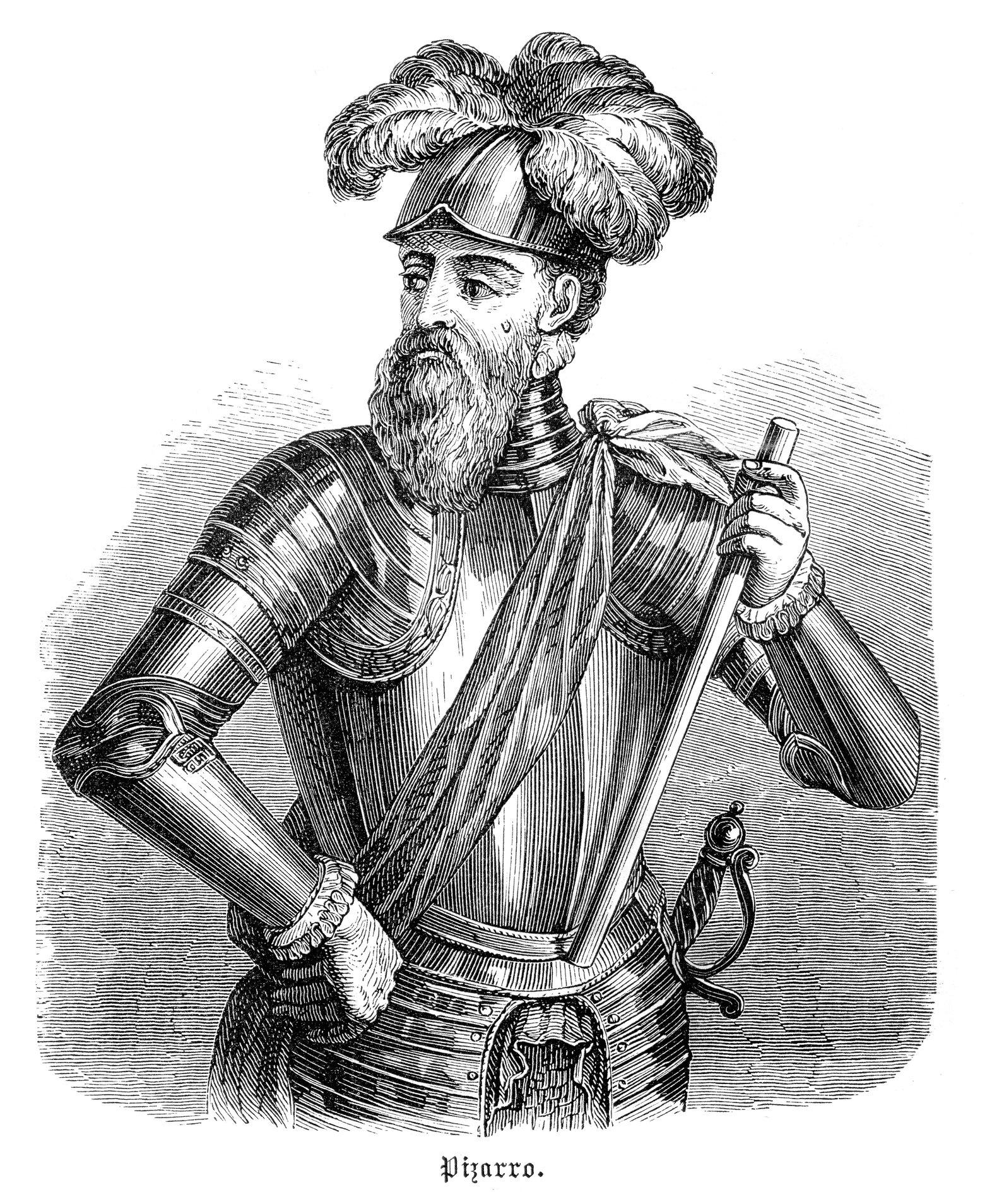 Ilustración de Franscisco Pizarro que data de 1882.