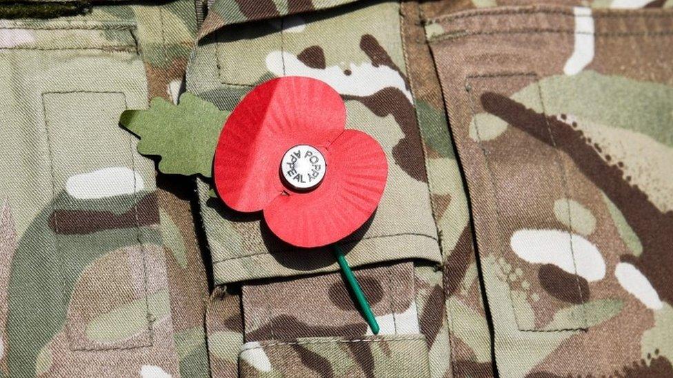 Poppy on a soldier's uniform