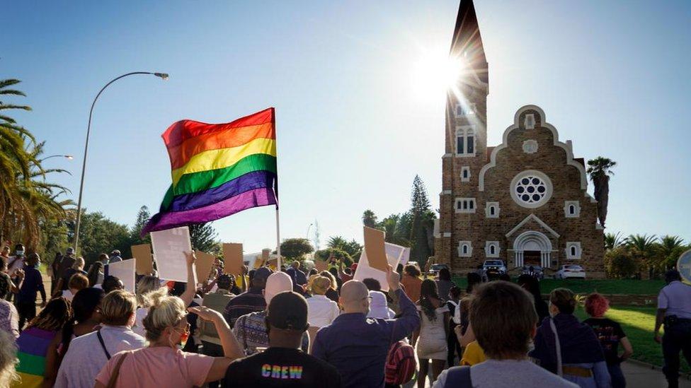 Manifestación en Namibia.