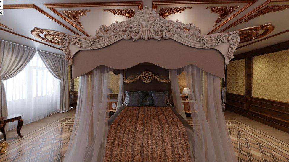 La investigación incluye reconstrucciones visuales de las lujosas habitaciones del palacio.
