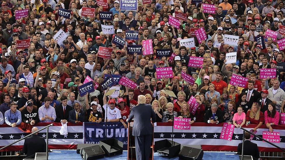 Republican presidential nominee Donald Trump holds a campaign rally at the J.S. Dorton Arena November 7, 2016 in Raleigh, North Carolina