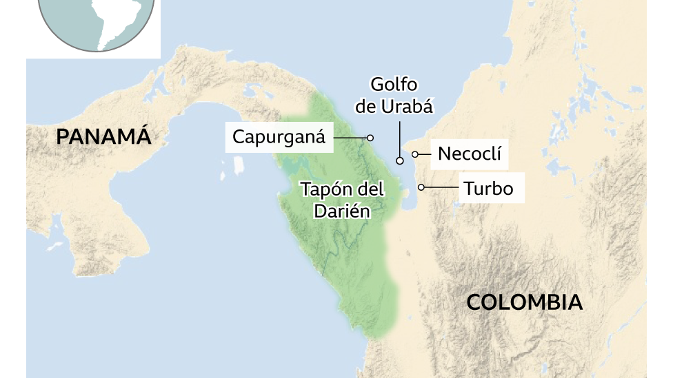Mapa de la frontera entre Panama y Colombia