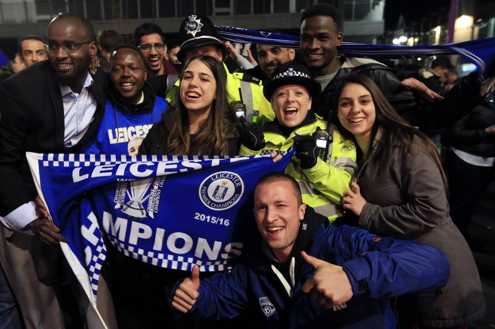 Fans celebrating the night Leicester City clinched the Premier League title