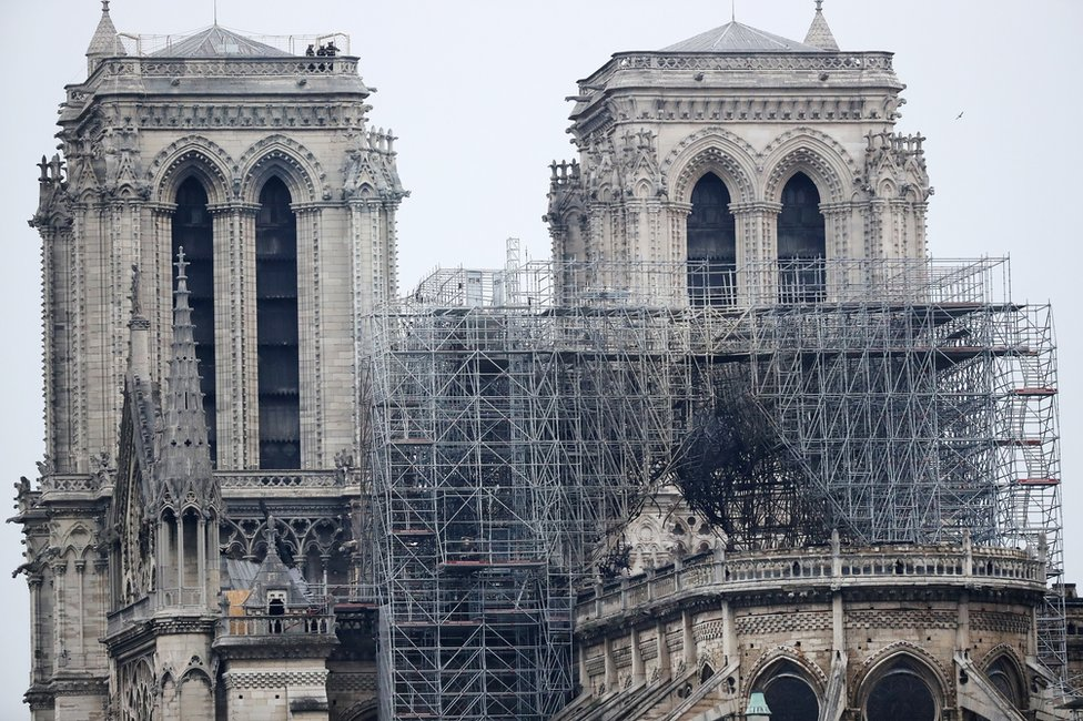 A view of the scaffolding after a massive fire destroyed the roof of the Notre-Dame Cathedral