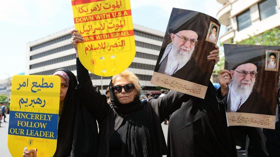 Protesta contra Estados Unidos en Irán.