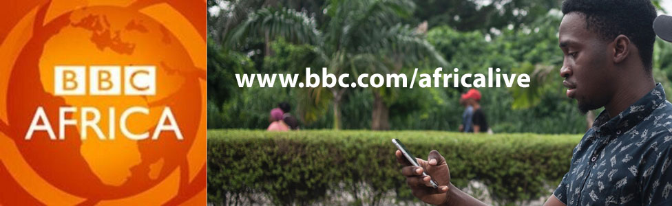 A man looking at his mobile phone in Nigeria and the BBC Africa logo