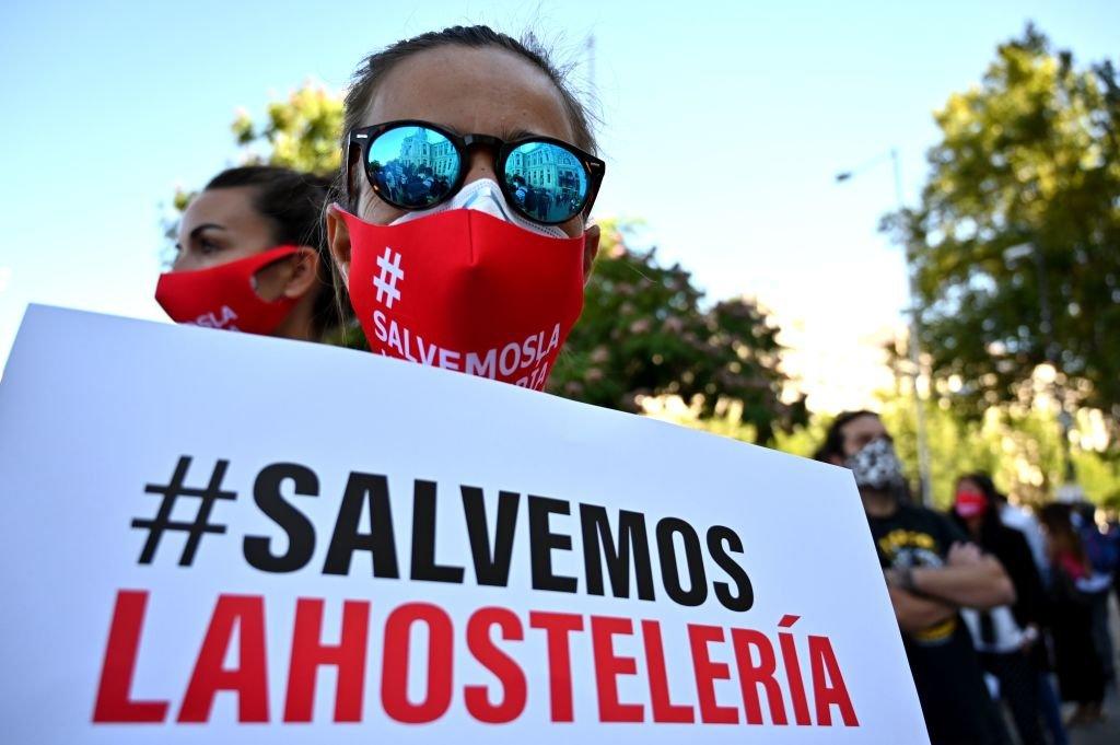 Una manifestación en España a favor del rescate de la industria hotelera