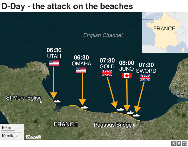 D-Day map: Attack on the beaches