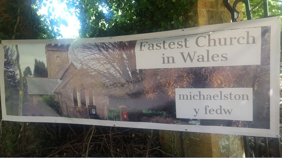 Fastest church in Wales sign at the local church