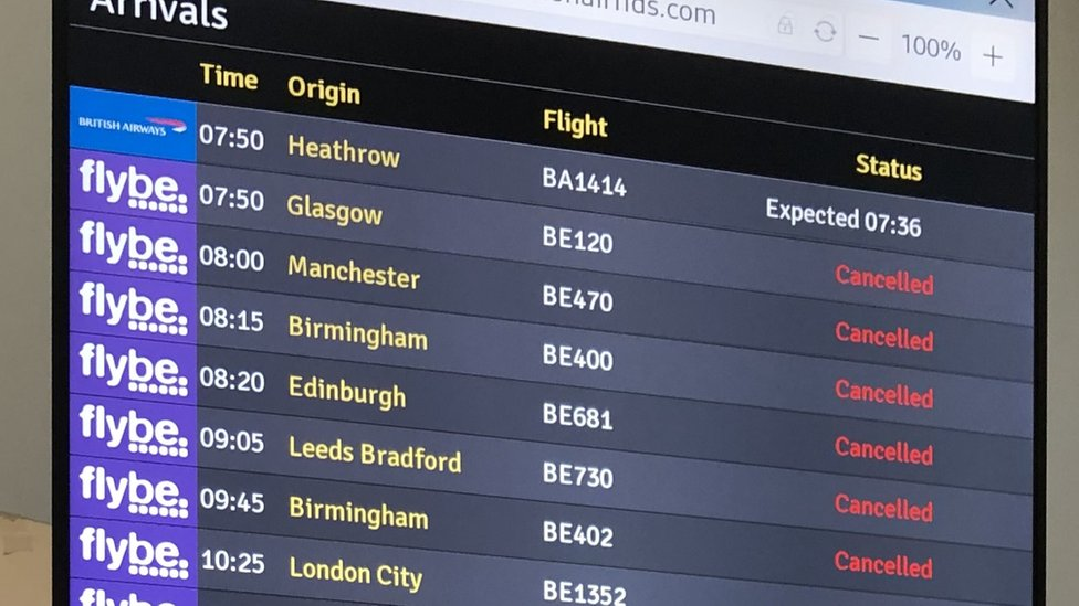 Destination board showing cancelled Flybe flights