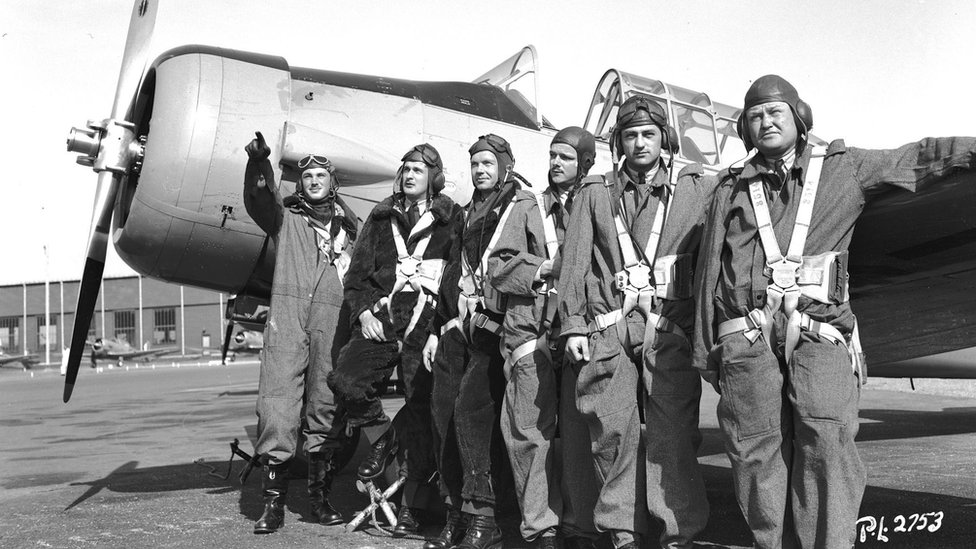 From left to right: J Gillespie Magee Jr, A.C Young, C.F Gallicher, C.G Johnston, A.B Cleaveland, O.N Leatherman
