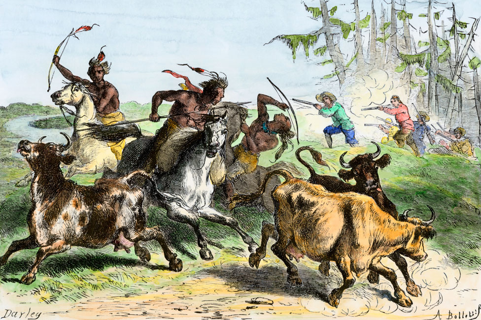 An engraving showing Native Americans driving off settlers' cattle in South Carolina