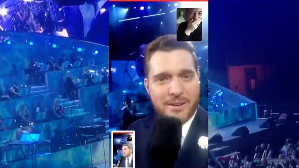 BBC News - Michael Bublé serenades fan via FaceTime at Birmingham show