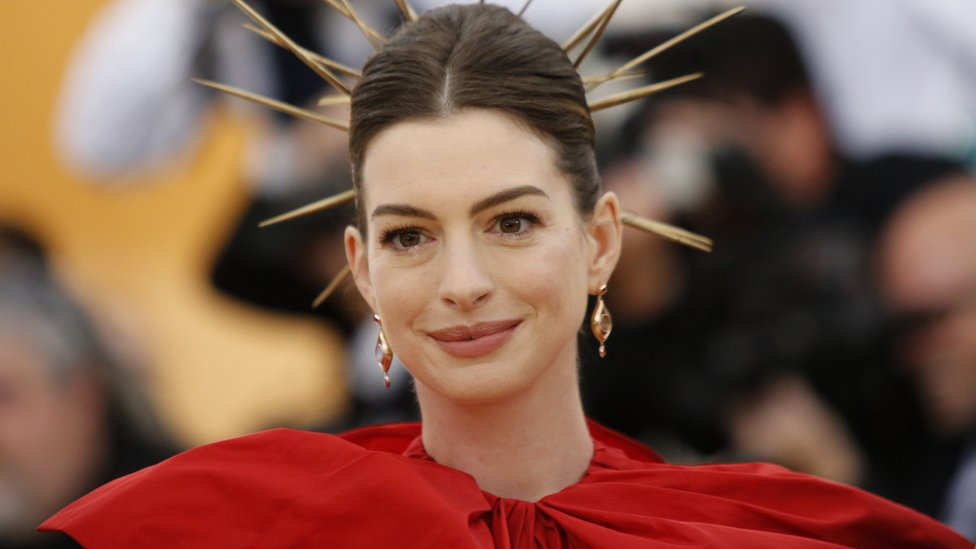 "Actress Anne Hathaway arrives at the Metropolitan Museum of Art Costume Institute Gala (Met Gala) to celebrate the opening of ""Heavenly Bodies: Fashion and the Catholic Imagination"" in the Manhattan borough of New York, U.S., May 7, 2018"