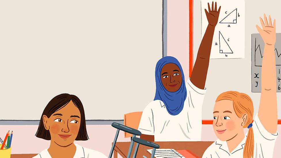 Illustration showing three girls at school