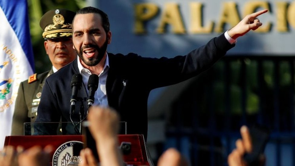 El Salvador's President Nayib Bukele addresses his supporters outside the parliament building in San Salvador. Photo: 9 February 2020