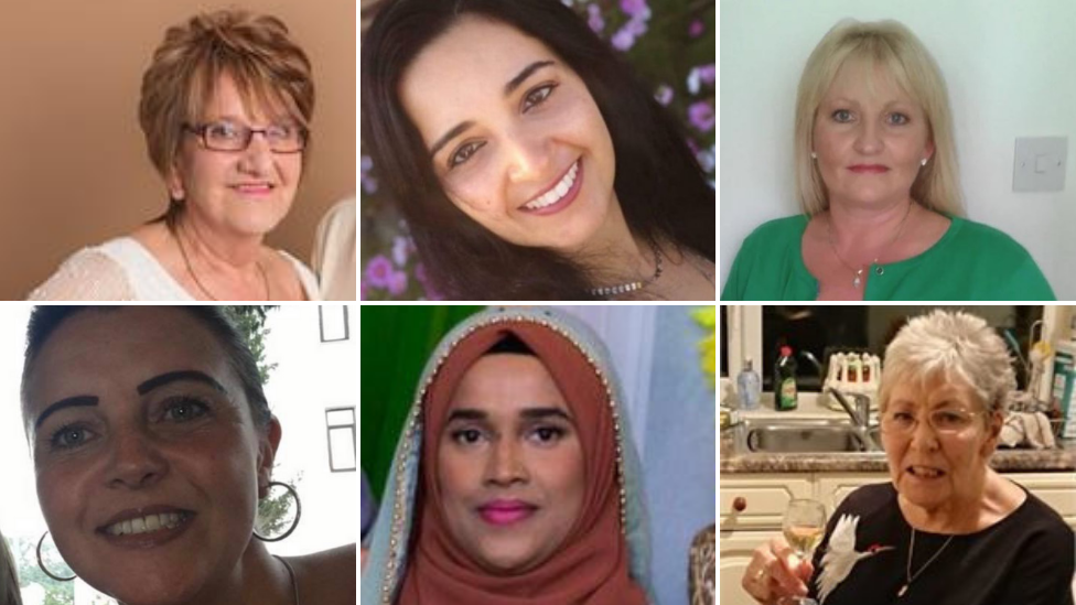 Mary Annie Sowerby, Aliny Godinho, Elize Stevens, Alison Hunt, Asma Begum and Dorothy Bowyer