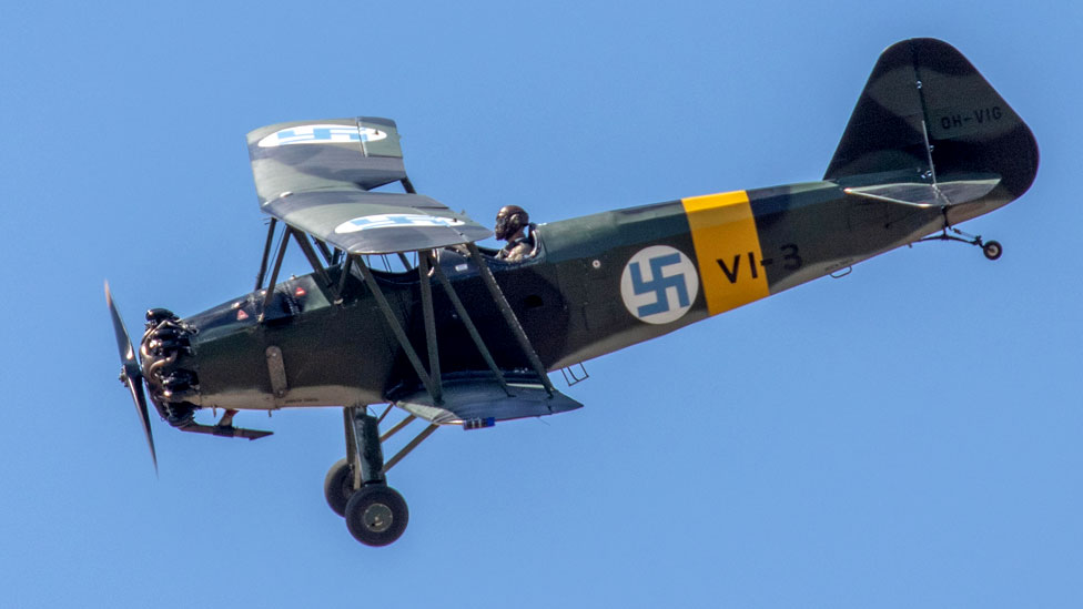 VL Viima vintage 1939 biplane two-seat trainer of the Finnish Air Force performing aerobatics at the FAF 100 Years Anniversary Air Show (June 2018)