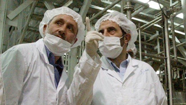 Iranian officials at Isfahan nuclear facility