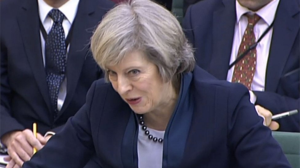 Theresa May before the Liaison Committee