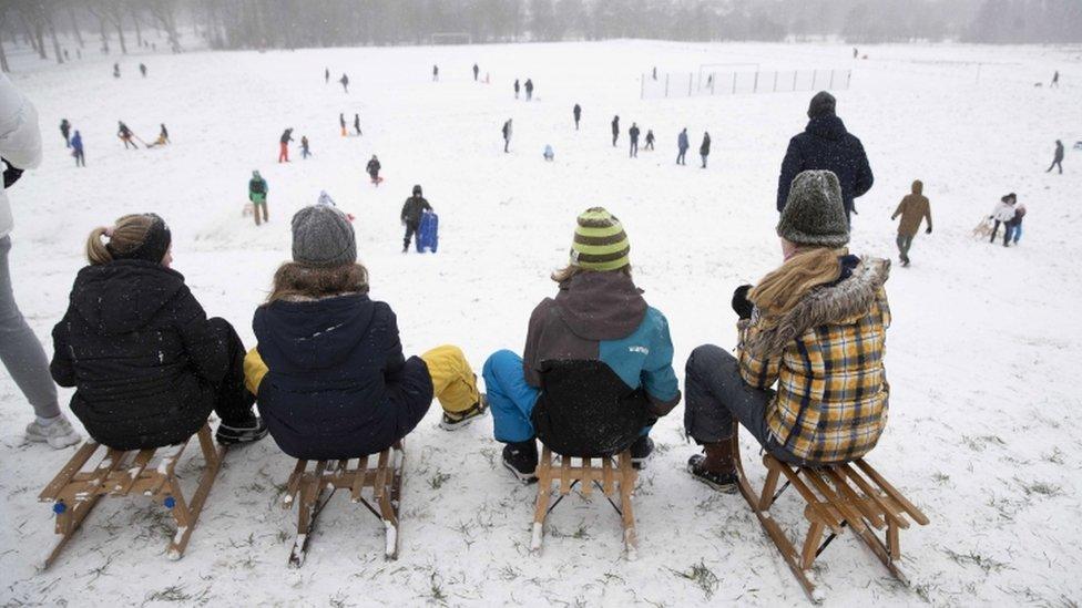 Bazı Hollandalılar, kar yağışının tadını çıkarttı.