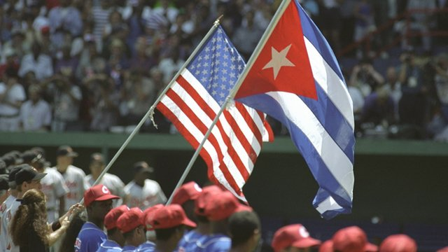Baseball game between Baltimore Orioles and the Cuban national team