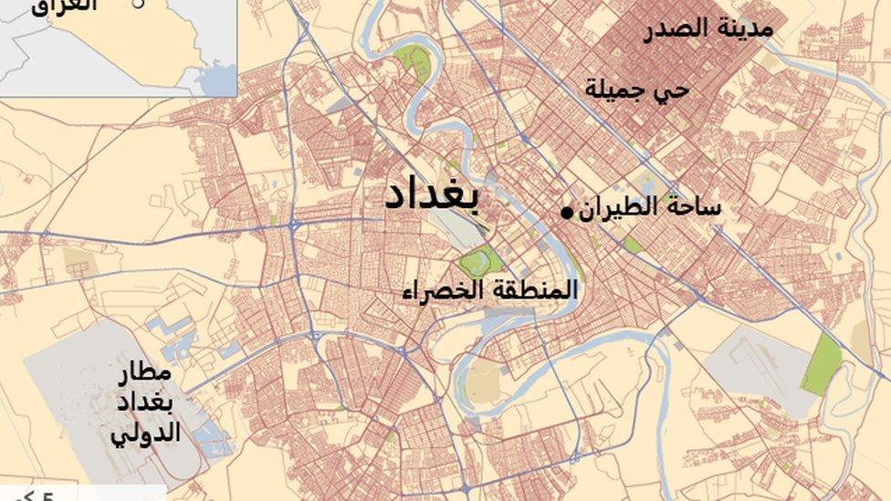 خريطة تظهر موقع الهجوم في ساحة الطيران ببغداد