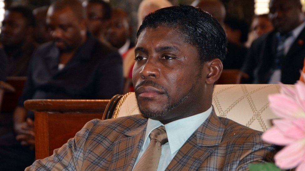 File photo taken on 25 June 2013 shows Teodoro (aka Teodorin) Nguema Obiang, son of Equatorial Guinea president, in Malabo Cathedral