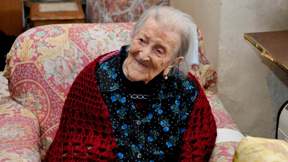 Emma Moreno on her 116th birthday in November 2016
