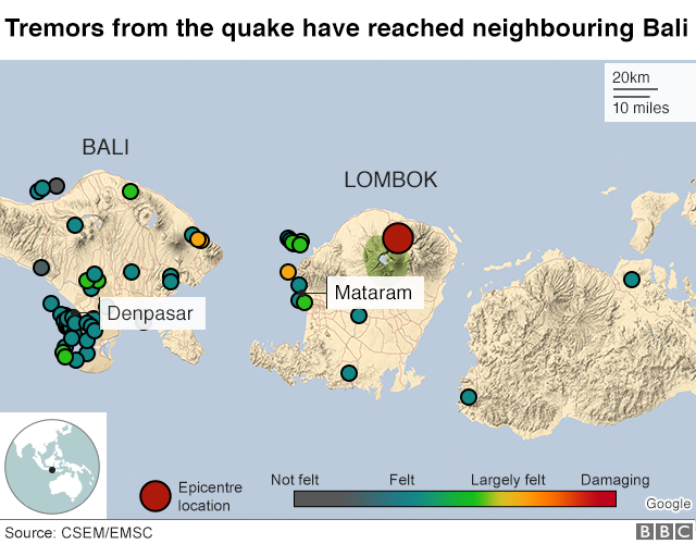Graphic showing location of the quake, and aftershocks
