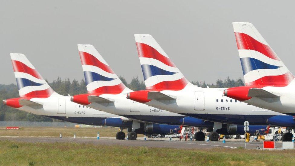 British Airways aircraft parked up