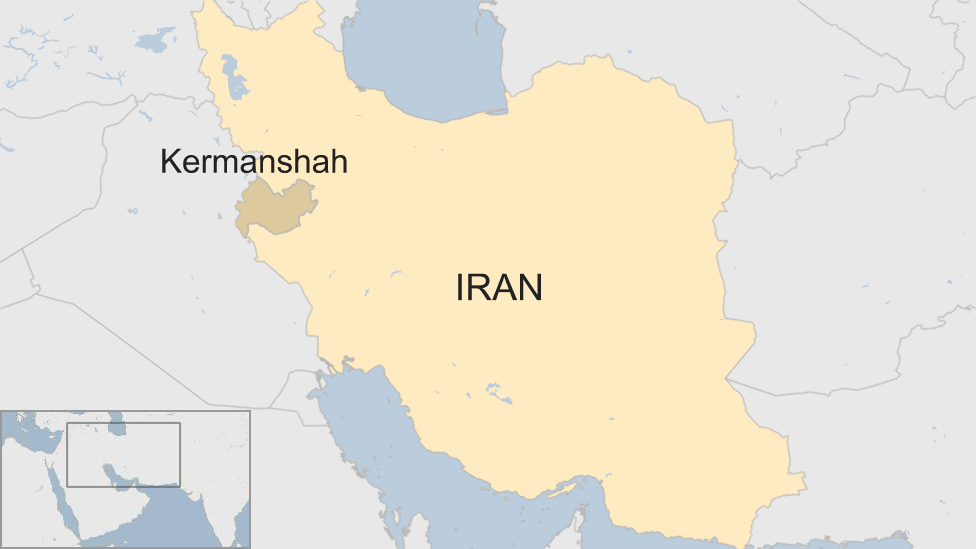 A BBC map showing the location of Kermanshah province in Iran